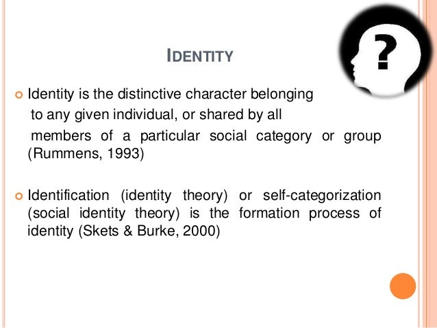 IDENTITY  Identity is the distinctive character belonging to any given individual, or shared by all members of a particul...