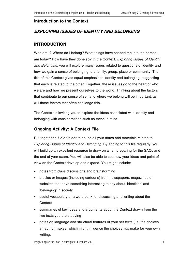 Thesis Statement For An Argumentative Essay  Essays Papers also High School Narrative Essay Examples Exploring Issues Of Identity  Belonging Insight For English Year  Narrative Essay Thesis Statement Examples