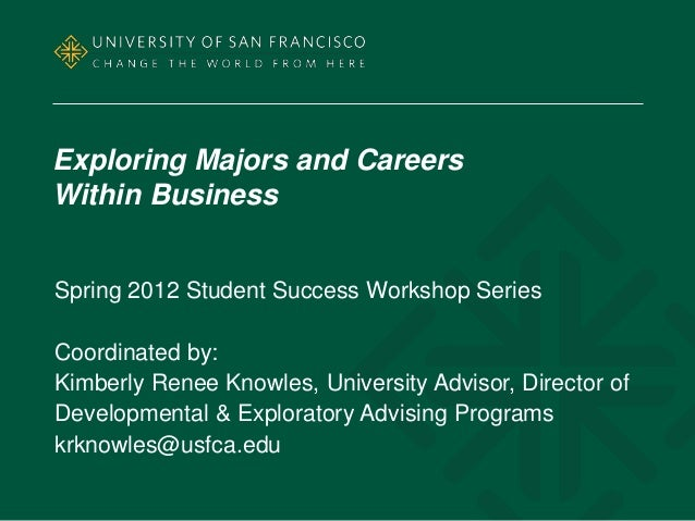 Exploring Majors and CareersWithin BusinessSpring 2012 Student Success Workshop SeriesCoordinated by:Kimberly Renee Knowle...