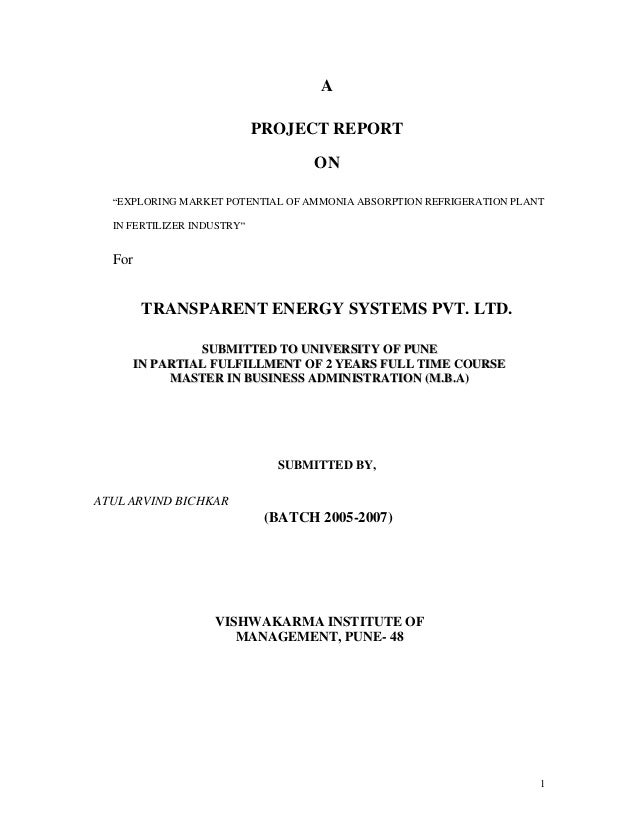 1 A PROJECT REPORT ON EXPLORING MARKET POTENTIAL OF AMMONIA ABSORPTION REFRIGERATION PLANT IN FERTILIZER INDUSTRY For TRAN...
