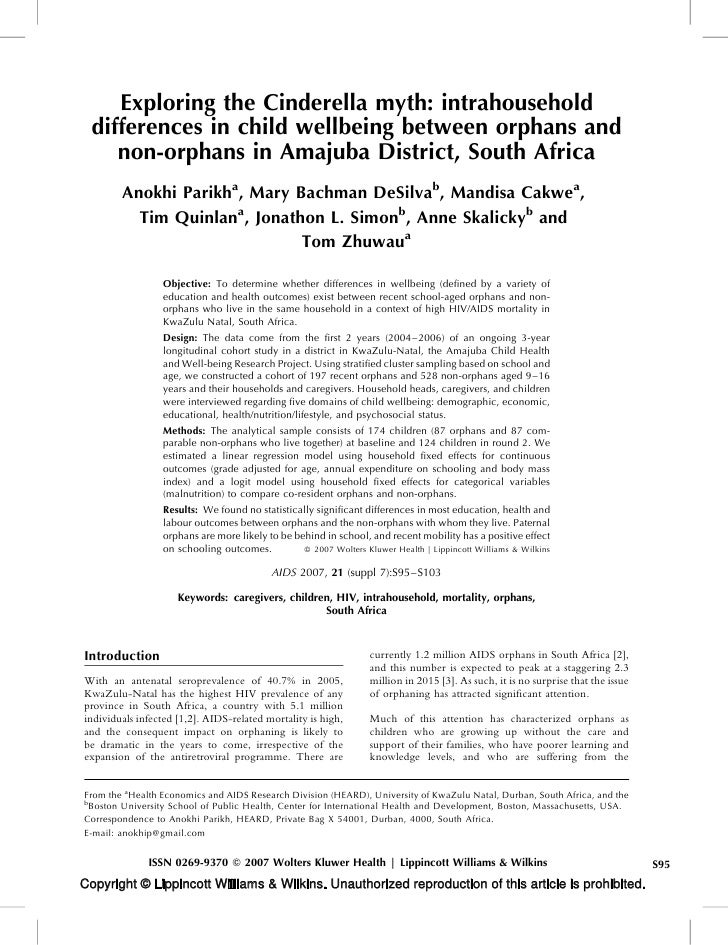 Exploring the Cinderella myth: intrahousehold   differences in child wellbeing between orphans and      non-orphans in Ama...