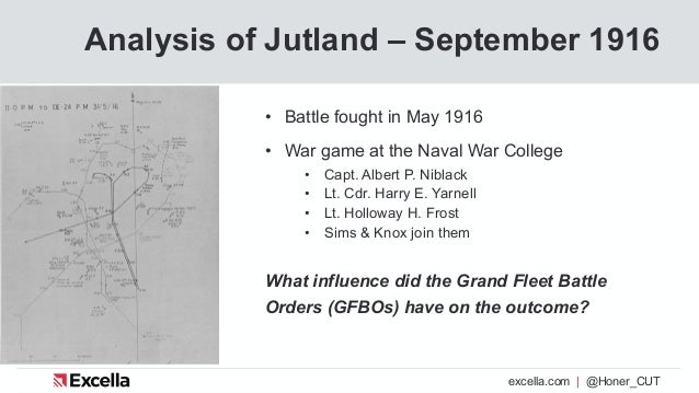 excella.com | @Honer_CUT Analysis of Jutland – September 1916 • Battle fought in May 1916 • War game at the Naval War Coll...