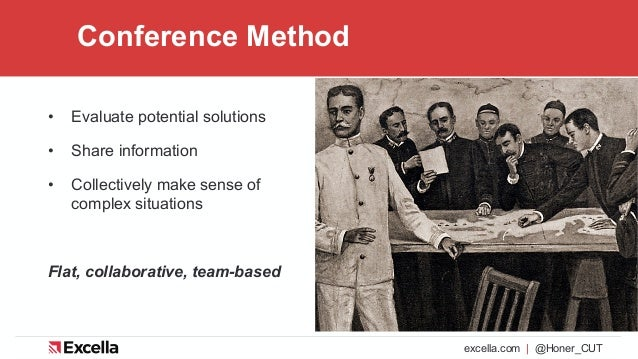 excella.com | @Honer_CUT Conference Method • Evaluate potential solutions • Share information • Collectively make sense of...