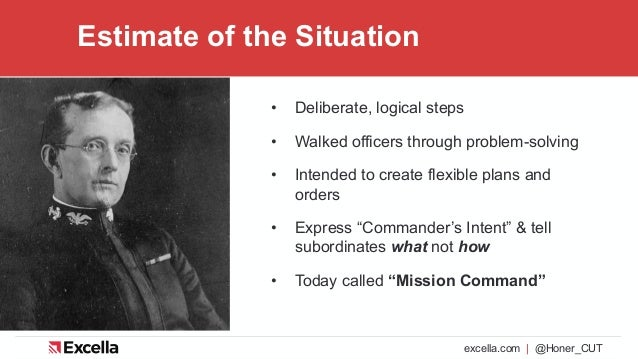excella.com | @Honer_CUT Estimate of the Situation • Deliberate, logical steps • Walked officers through problem-solving •...