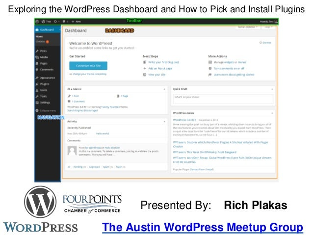 Exploring the WordPress Dashboard and How to Pick and Install Plugins The Austin WordPress Meetup Group Presented By: Rich...