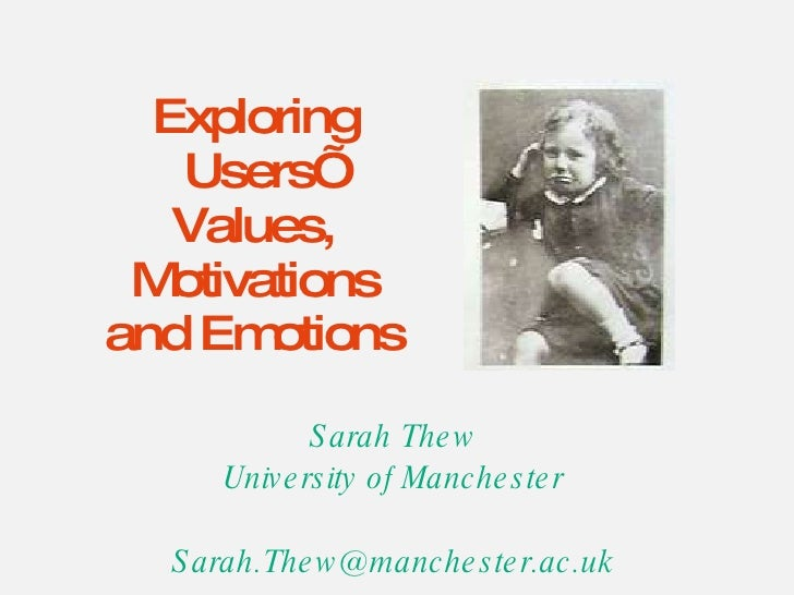 Exploring Users' Values, Motivations and Emotions Sarah Thew University of Manchester [email_address]