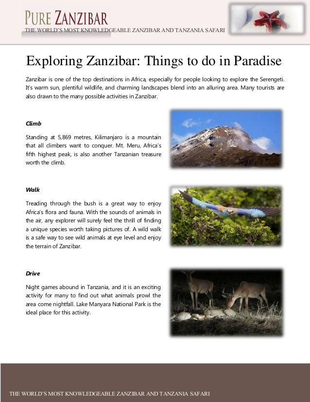 THE WORLD'S MOST KNOWLEDGEABLE ZANZIBAR AND TANZANIA SAFARI EXPERTS  Exploring Zanzibar: Things to do in Paradise Zanzibar...