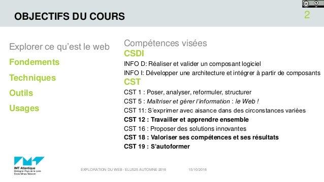 OBJECTIFS DU COURS Explorer ce qu'est le web Fondements Techniques Outils Usages Compétences visées CSDI INFO D: Réaliser ...