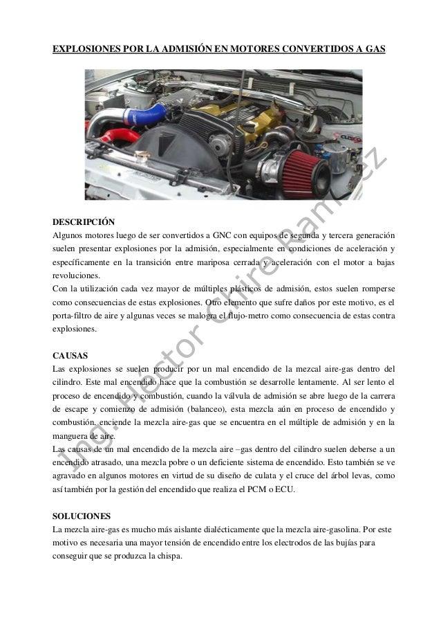 Explosiones Por La Admisin En Motores Convertidos A Gas