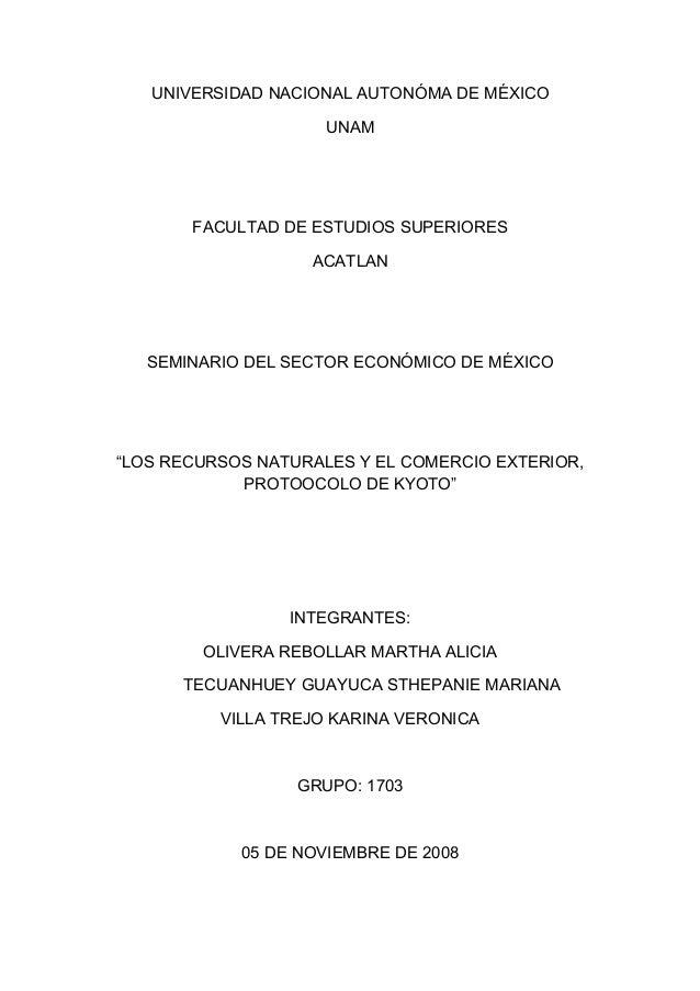 UNIVERSIDAD NACIONAL AUTONÓMA DE MÉXICO UNAM FACULTAD DE ESTUDIOS SUPERIORES ACATLAN SEMINARIO DEL SECTOR ECONÓMICO DE MÉX...
