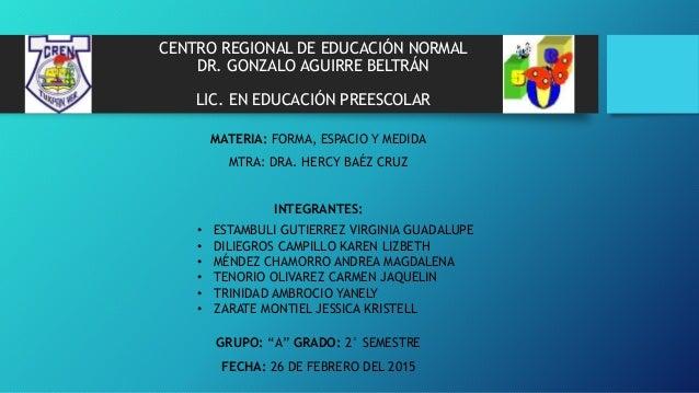 CENTRO REGIONAL DE EDUCACIÓN NORMAL DR. GONZALO AGUIRRE BELTRÁN LIC. EN EDUCACIÓN PREESCOLAR MATERIA: FORMA, ESPACIO Y MED...