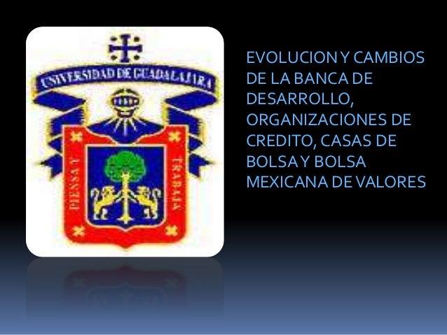 EVOLUCIONY CAMBIOS DE LA BANCA DE DESARROLLO, ORGANIZACIONES DE CREDITO, CASAS DE BOLSAY BOLSA MEXICANA DEVALORES
