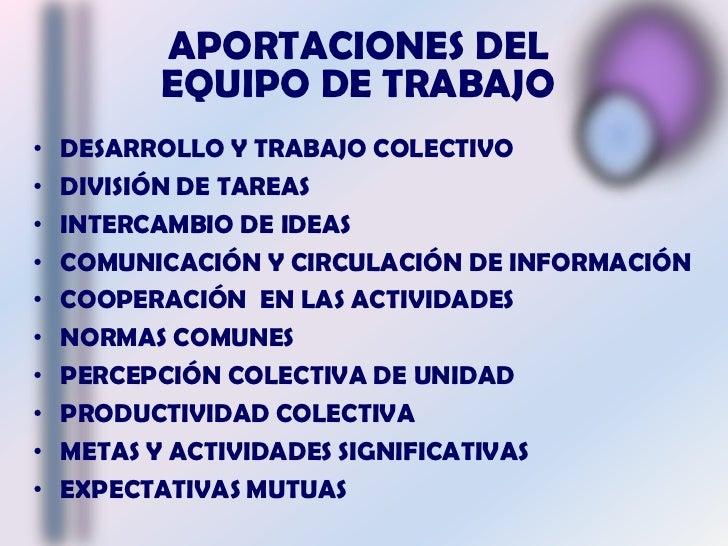 APORTACIONES DEL EQUIPO DE TRABAJO<br />DESARROLLO Y TRABAJO COLECTIVO<br />DIVISIÓN DE TAREAS<br />INTERCAMBIO DE IDEAS<b...