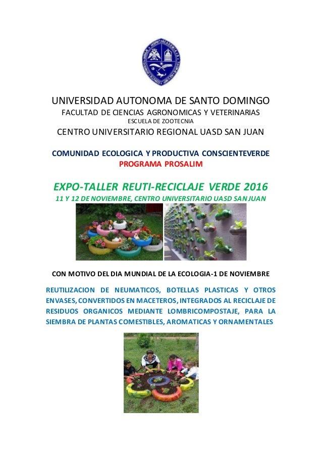 UNIVERSIDAD AUTONOMA DE SANTO DOMINGO FACULTAD DE CIENCIAS AGRONOMICAS Y VETERINARIAS ESCUELA DE ZOOTECNIA CENTRO UNIVERSI...