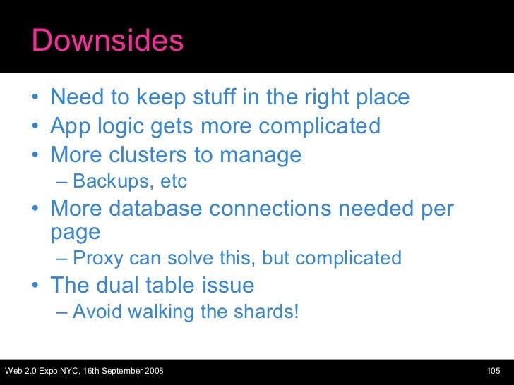 Downsides <ul><li>Need to keep stuff in the right place </li></ul><ul><li>App logic gets more complicated </li></ul><ul><l...