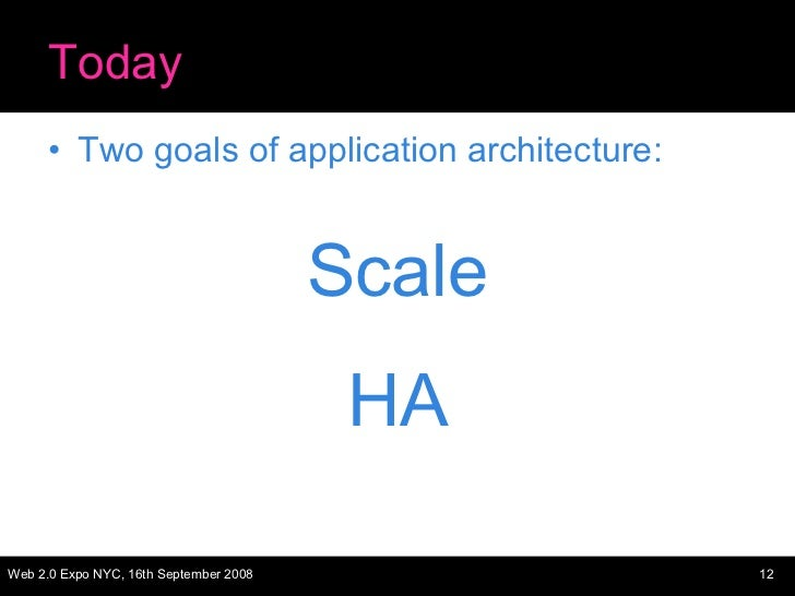 Today <ul><li>Two goals of application architecture: </li></ul><ul><li>Scale </li></ul><ul><li>HA </li></ul>