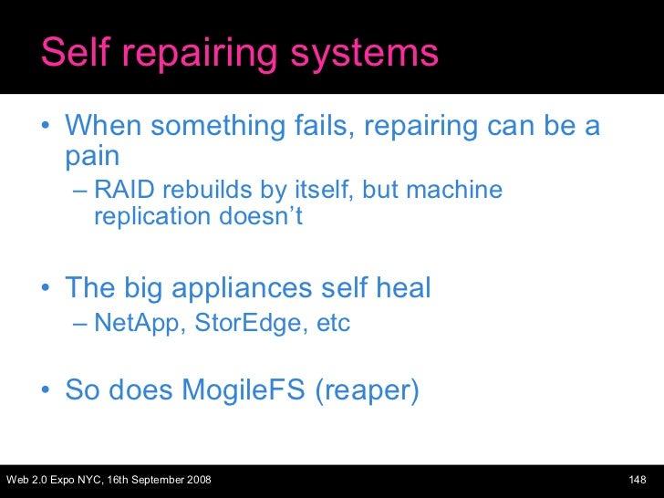 Self repairing systems <ul><li>When something fails, repairing can be a pain </li></ul><ul><ul><li>RAID rebuilds by itself...
