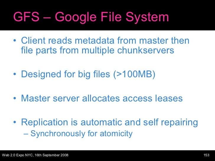 GFS – Google File System <ul><li>Client reads metadata from master then file parts from multiple chunkservers </li></ul><u...