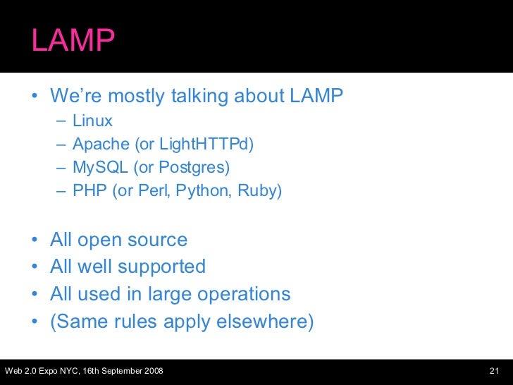 LAMP <ul><li>We're mostly talking about LAMP </li></ul><ul><ul><li>Linux </li></ul></ul><ul><ul><li>Apache (or LightHTTPd)...