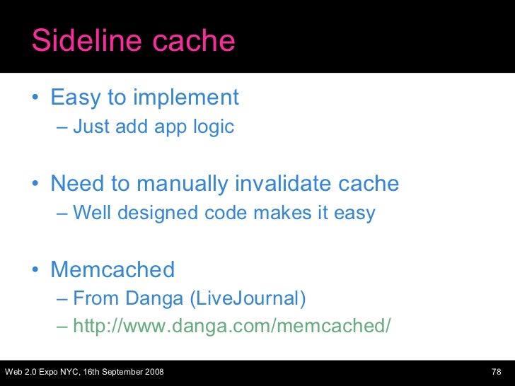 Sideline cache <ul><li>Easy to implement </li></ul><ul><ul><li>Just add app logic </li></ul></ul><ul><li>Need to manually ...