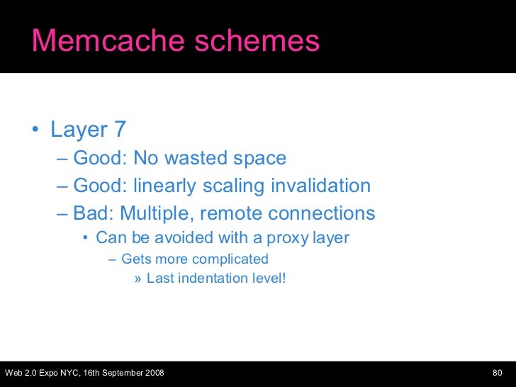 Memcache schemes <ul><li>Layer 7 </li></ul><ul><ul><li>Good: No wasted space </li></ul></ul><ul><ul><li>Good: linearly sca...