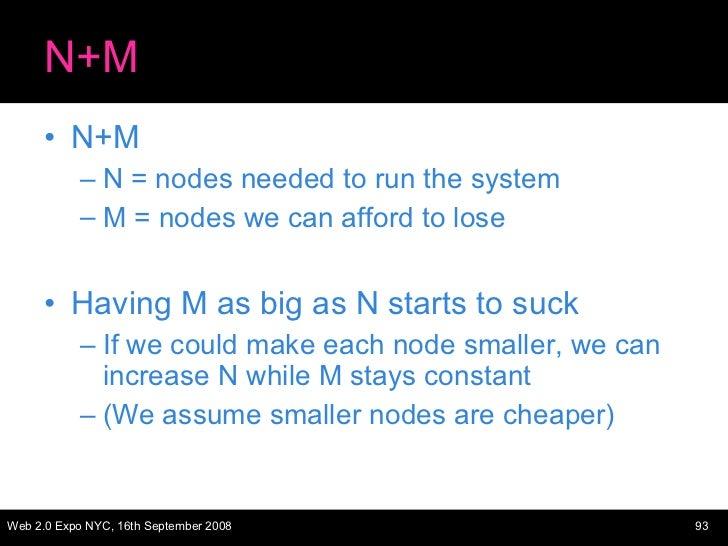 N+M <ul><li>N+M </li></ul><ul><ul><li>N = nodes needed to run the system </li></ul></ul><ul><ul><li>M = nodes we can affor...