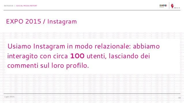 Luglio 2015 EXPO2015 | SOCIAL MEDIA REPORT 00 Usiamo Instagram in modo relazionale: abbiamo interagito con circa 100 utent...