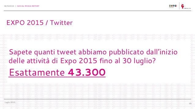 Luglio 2015 EXPO2015 | SOCIAL MEDIA REPORT 00 Sapete quanti tweet abbiamo pubblicato dall'inizio delle attività di Expo 20...