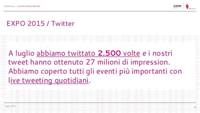 Luglio 2015 EXPO2015 | SOCIAL MEDIA REPORT 00 A luglio abbiamo twittato 2.500 volte e i nostri tweet hanno ottenuto 27 mil...
