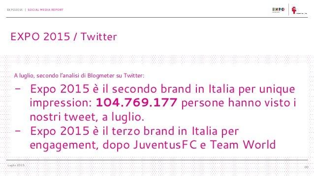 Luglio 2015 EXPO2015 | SOCIAL MEDIA REPORT 00 A luglio, secondo l'analisi di Blogmeter su Twitter: - Expo 2015 è il second...