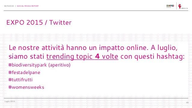 Luglio 2015 EXPO2015 | SOCIAL MEDIA REPORT 00 Le nostre attività hanno un impatto online. A luglio, siamo stati trending t...