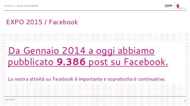 Luglio 2015 EXPO2015 | SOCIAL MEDIA REPORT 00 Da Gennaio 2014 a oggi abbiamo pubblicato 9.386 post su Facebook. La nostra ...