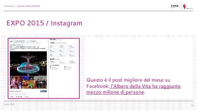 Luglio 2015 EXPO2015 | SOCIAL MEDIA REPORT 00 Questo è il post migliore del mese su Facebook: l'Albero della Vita ha raggi...