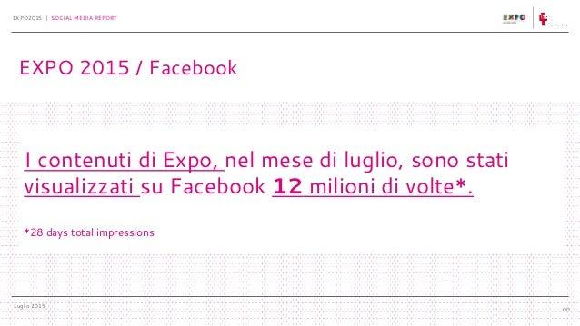 Luglio 2015 EXPO2015 | SOCIAL MEDIA REPORT 00 I contenuti di Expo, nel mese di luglio, sono stati visualizzati su Facebook...