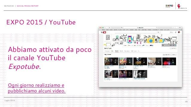 Luglio 2015 EXPO2015 | SOCIAL MEDIA REPORT 00 Abbiamo attivato da poco il canale YouTube Expotube. Ogni giorno realizziamo...