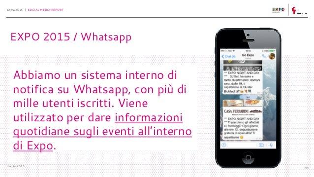 Luglio 2015 EXPO2015 | SOCIAL MEDIA REPORT 00 Abbiamo un sistema interno di notifica su Whatsapp, con più di mille utenti ...