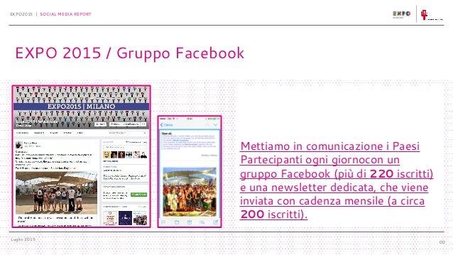 Luglio 2015 EXPO2015 | SOCIAL MEDIA REPORT 00 EXPO 2015 / Gruppo Facebook Mettiamo in comunicazione i Paesi Partecipanti o...
