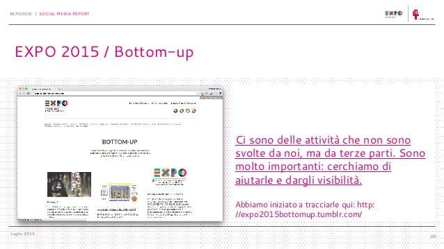 Luglio 2015 EXPO2015 | SOCIAL MEDIA REPORT 00 EXPO 2015 / Bottom-up Ci sono delle attività che non sono svolte da noi, ma ...