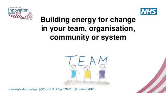 www.england.nhs.uk/expo | @ExpoNHS | #Expo17NHS Building energy for change in your team, organisation, community or system...