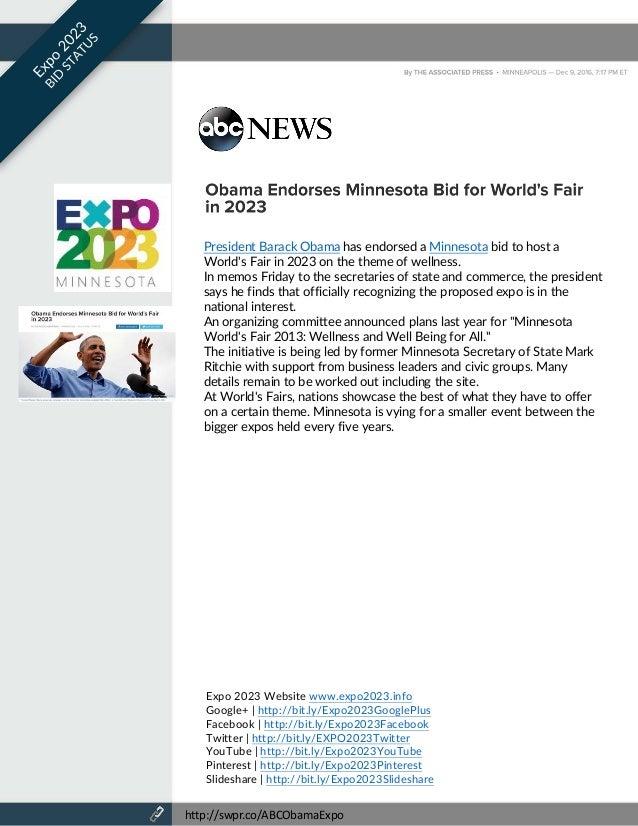 Expo Minnesota Worlds Fair Bid Status