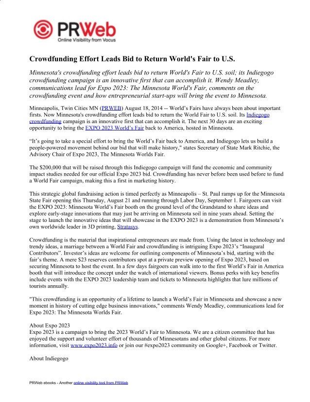 album press release template - expo 2023 press release crowdfunding effort leads bid to