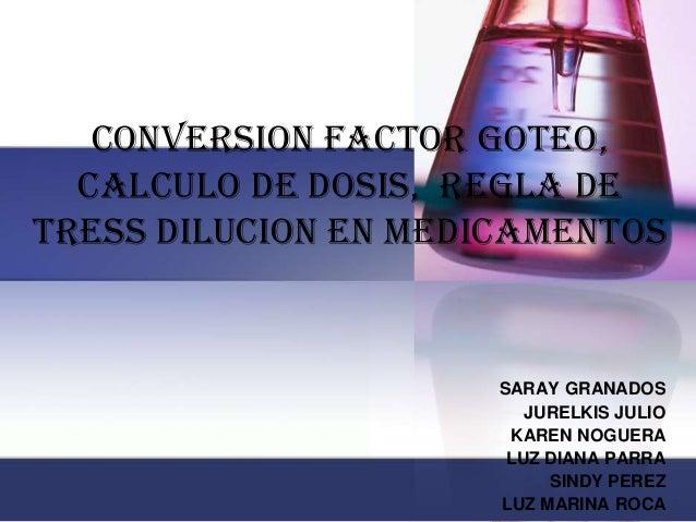 conversion factor goteo, calculo de dosis, regla de tress dilucion en medicamentos SARAY GRANADOS JURELKIS JULIO KAREN NOG...