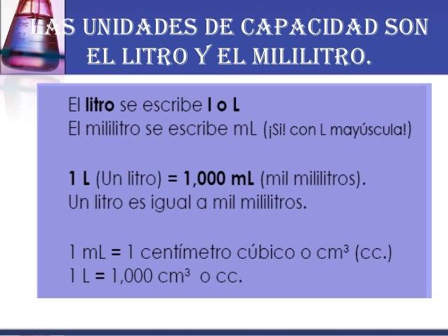 Las unidades de capacidad son el litro y el mililitro.
