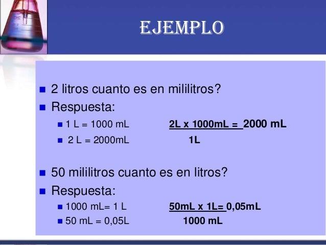 EJEMPLO  2 litros cuanto es en mililitros?  Respuesta:  1 L = 1000 mL 2L x 1000mL = 2000 mL  2 L = 2000mL 1L  50 mili...