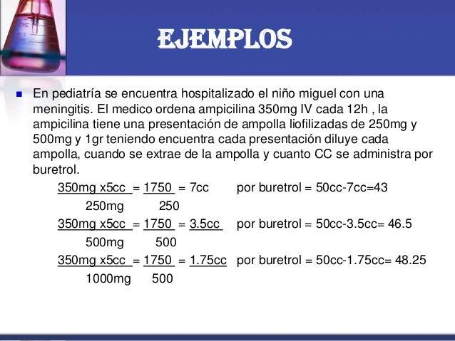 Ejemplos  En pediatría se encuentra hospitalizado el niño miguel con una meningitis. El medico ordena ampicilina 350mg IV...