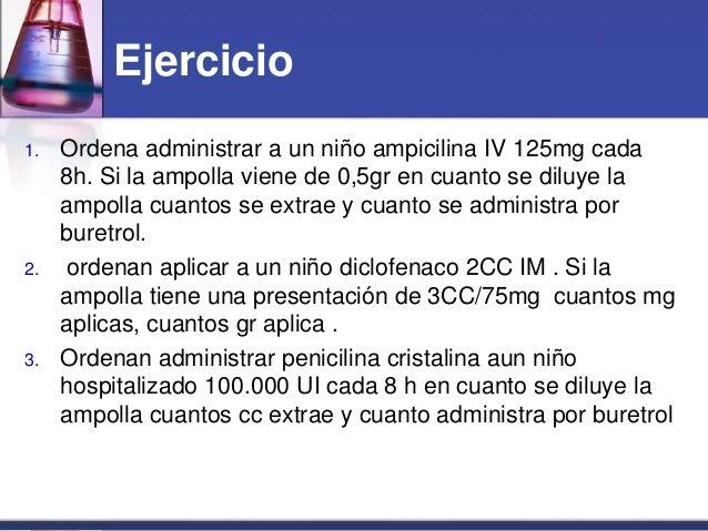 Ejercicio 1. Ordena administrar a un niño ampicilina IV 125mg cada 8h. Si la ampolla viene de 0,5gr en cuanto se diluye la...