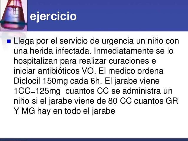 ejercicio  Llega por el servicio de urgencia un niño con una herida infectada. Inmediatamente se lo hospitalizan para rea...