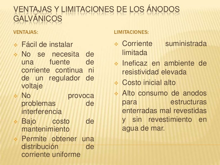 VENTAJAS Y LIMITACIONES DE LOS ÁNODOSGALVÁNICOSVENTAJAS:                    LIMITACIONES:   Fácil de instalar           ...