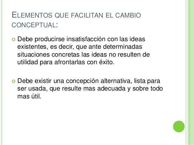 ELEMENTOS QUE FACILITAN EL CAMBIOCONCEPTUAL: Debe producirse insatisfacción con las ideasexistentes, es decir, que ante d...
