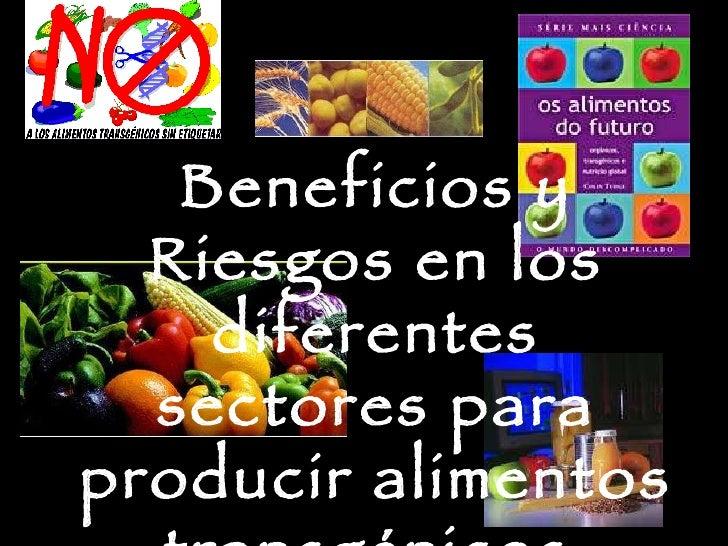 Beneficios y Riesgos en los diferentes sectores para producir alimentos transgénicos